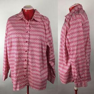 Jones New York Pink & White Button Up Shirt